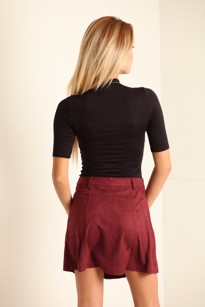Lila Two Pocket Suede Skirt - Adore Fashion