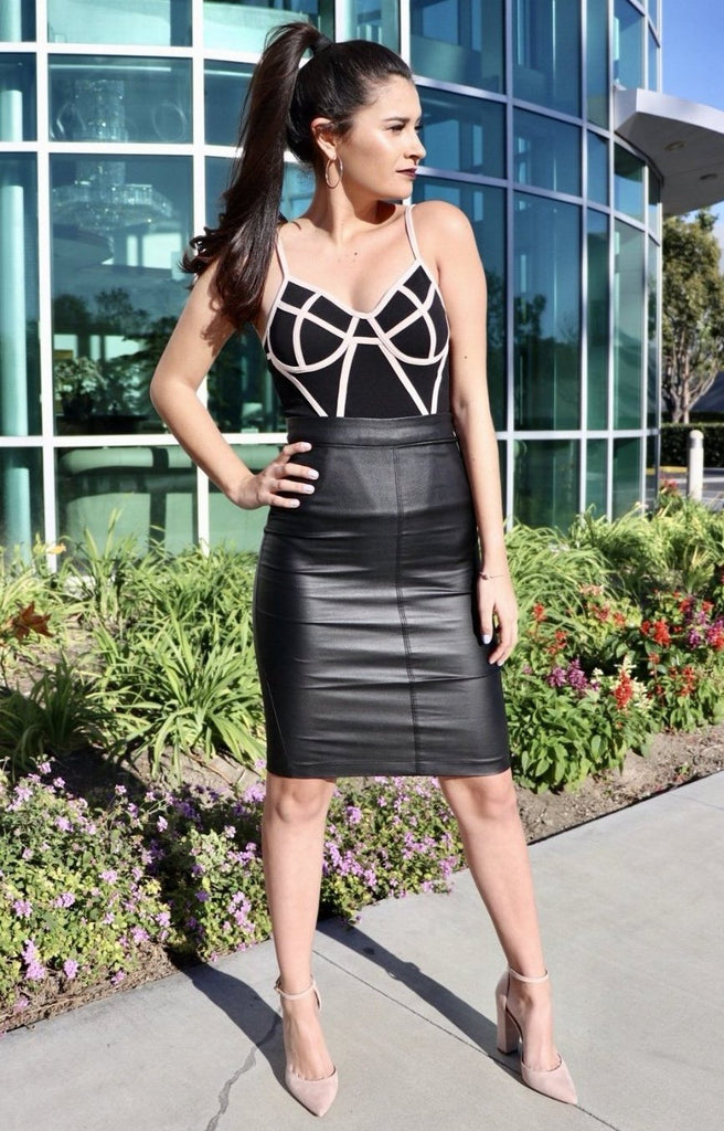 Solid Leather Midi Skirt - Adore Fashion