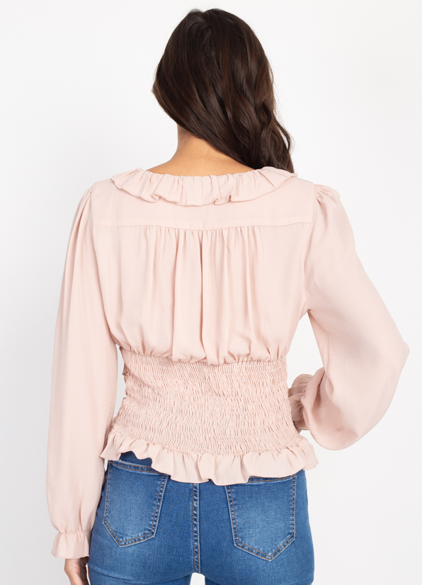 Ruffle trim smoked top