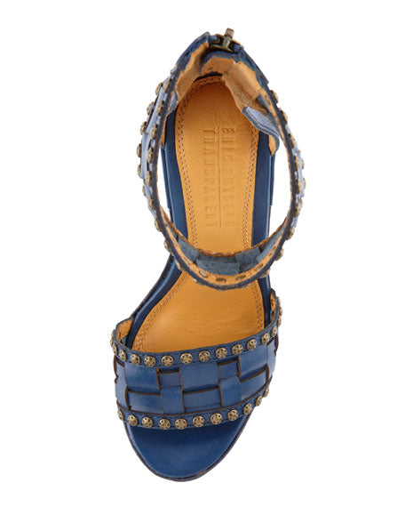 Eric Rutberg Transparent Metro Ankle-Wrap Platform Wedge Sandal, Blue - Adore Fashion