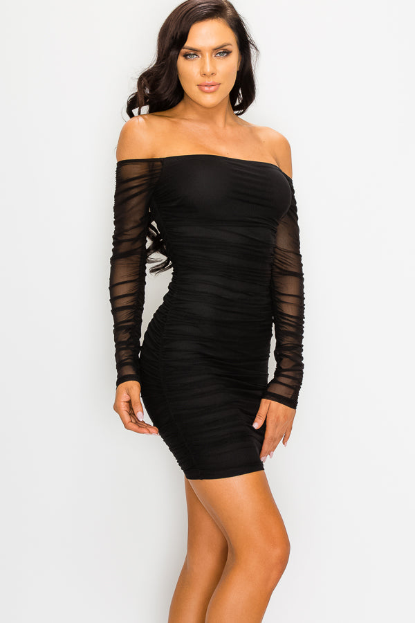 SEMI SHEER BLACK DRESS