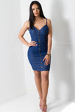 Lux Denim Bustier Dress - Adore Fashion