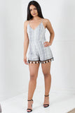 DIVE IN BLACK AND WHITE STRIPED ROMPER - Adore Fashion