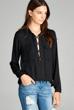 Long Sleeve Two Pocket Blouse - Adore Fashion