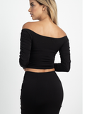Ruched off shoulder 2 pc set