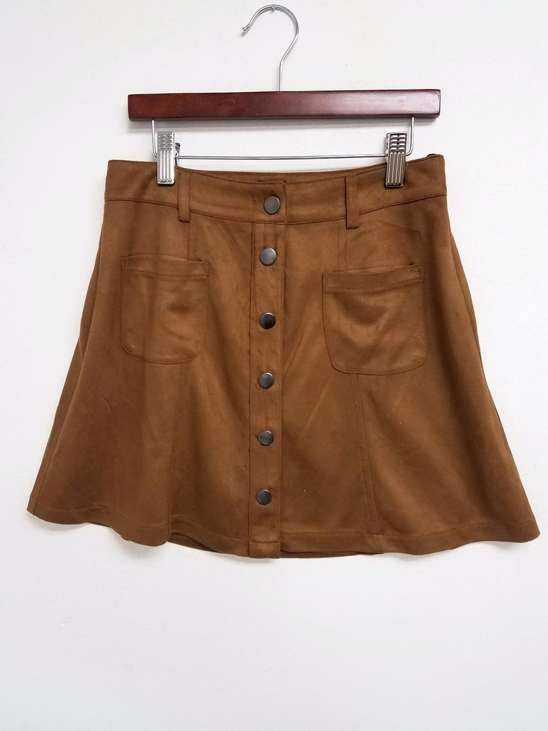 Two Pocket Suede Skirt - Adore Fashion