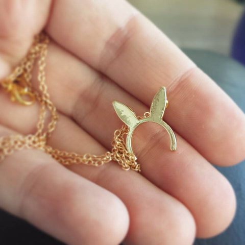 Bunny Ear Necklace in Gold or Silver