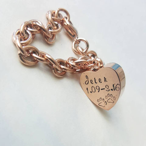 Rose Gold Heart Shaped Cremation Urn Bracelet