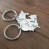 Long Distance Love and Friendship Map Key Chains