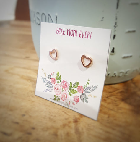 Heart Shaped Earrings - Ready to Ship for Mother's Day - Silver or Rose Gold