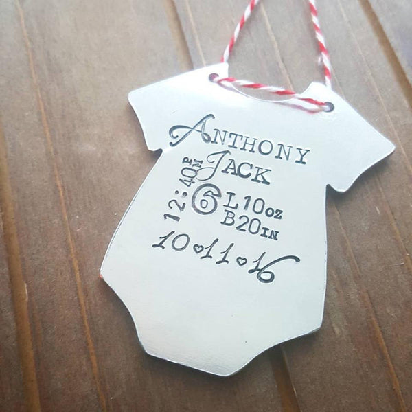 baby stats onesie ornament perfect for babys first christmas dreamwillowstudio