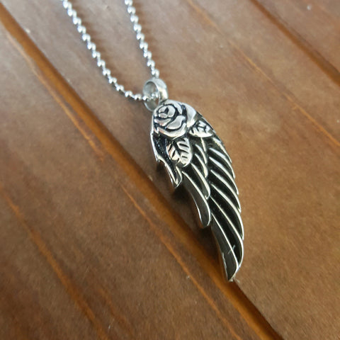 Angel Wing - Feather Style Cremation Urn Charm or Necklace