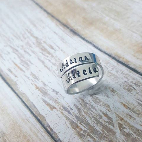 Custom Wrap Ring  - Customize with 2Names, Dates or Initials