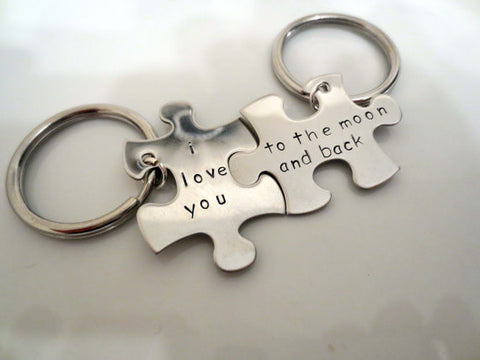 I Love You to the Moon and Back Key Chain Set