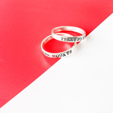 Fitness Motivation Ring - Stackable Personalized ring