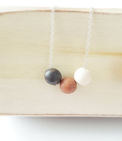 Essential Oil Diffuser Necklace - Ebony, Pink and White Wood