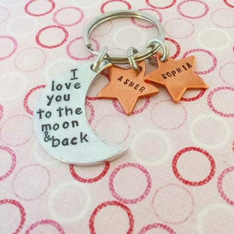 I Love You To The Moon And Back - Moon and Stars Key chain or Necklace