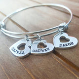 Mommy Heart Shaped Charm Bracelet - Add as many Hearts as you Want!