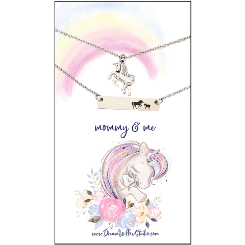 Mommy and Me Unicorn Necklace Set