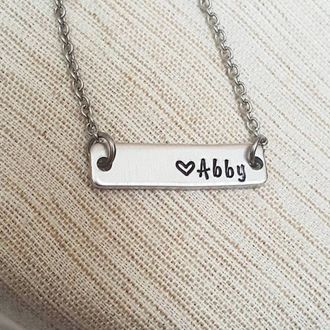 Name Plate Bar Personalized Bar Necklace  - Personalize with Initials, Name or Date