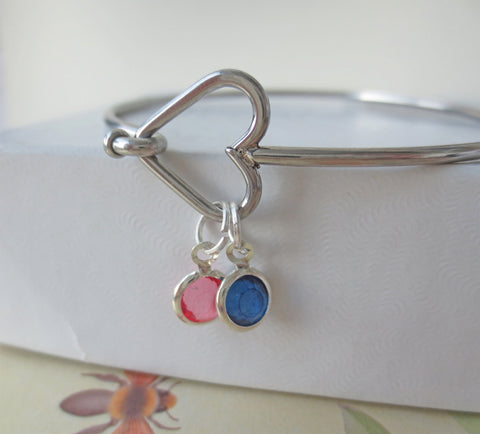Heart Closure Charm Bracelet - Add Intials and Birthstones