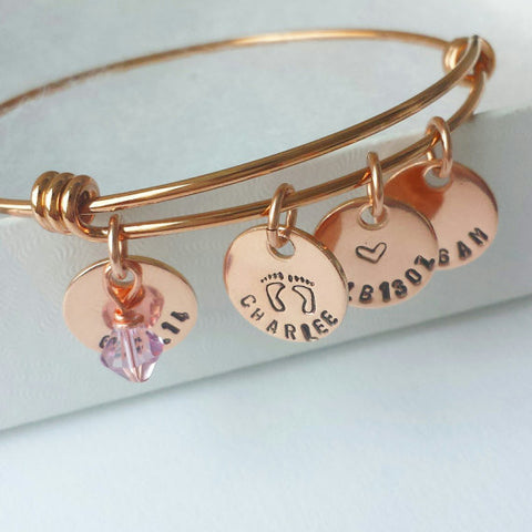 Rose Gold Mommy Charm Bracelet