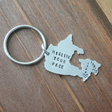 Long Distance Love Map of Canada Key Chain