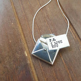 P. S. I love you Sterling Silver Envelope and Card Necklace