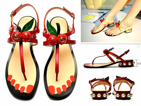 2017 New Women Cherry Pearl T Bars Ankle Strap Sandals Shoes Beach Shoes