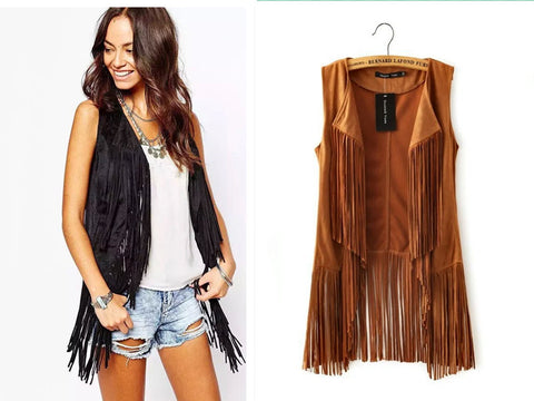 Cool Fashion Tassel Faux Suede Leather Vest Women Cappa
