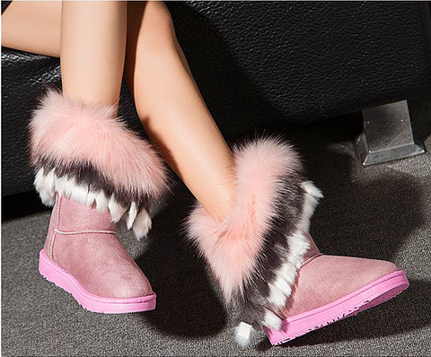 New Women Winter Snow Boots Ankle Boots Warm fur inside thick fur
