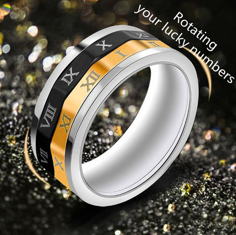 2017 New rotating multi-color roman number unisex rings 316L titanium steel