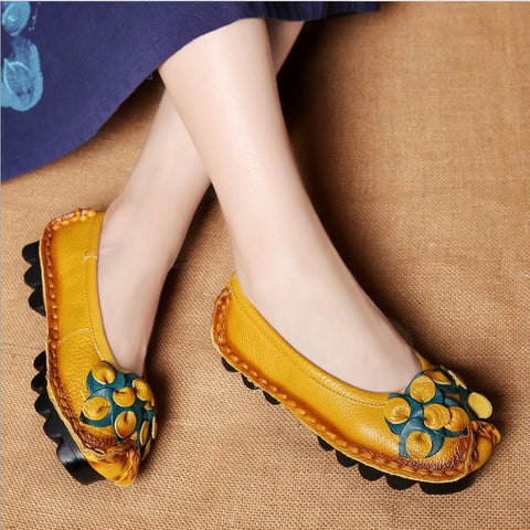 New women casual shoes boat shoes flats pregnant soft leather