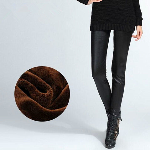 Women winter imitatied leather leggings thickened elastic lining velvet look slim