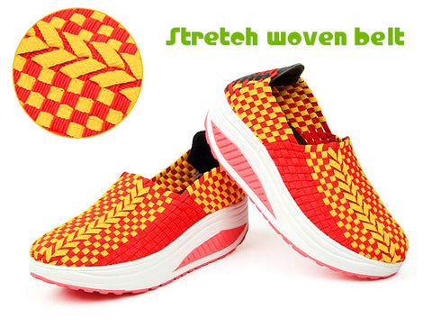 Summer woven women cushion shoes knitted Stretch breathable casual wedges shoe