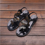 3D Spanish Royal Spread Wings of Butterfly Jellies Sandals Summer Flats Women