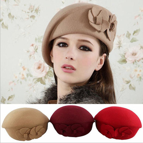 Beret hat women winter woolen elegant beanie Hat Cap