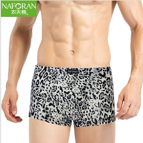 New Man Underwear Leopard Grain Boxers 90% Lycra Cotton  Silk Feel 4p/Lot