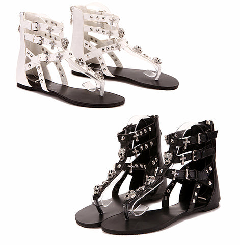 Fashion 2017 Skull Cross Solid Rhinestone Ankle Sandals Boots Gladiator Flip