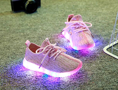 1-8 Ages New Kid Sport Sneaker LED Light Up Running Shoes Unisex Light Breathable