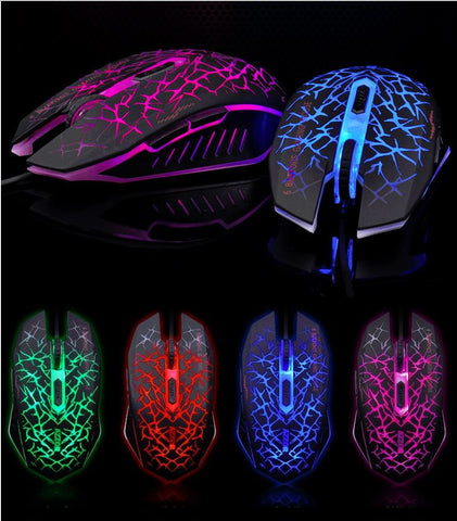 7D 2400DPI The Phantom Glare 6 Buttons Usb Gaming Mouse Red/Green/Blue/Purple