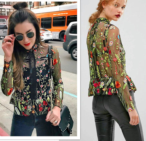 2017 New 3D Embroidery blouse hollow out Floral colorful summer women top