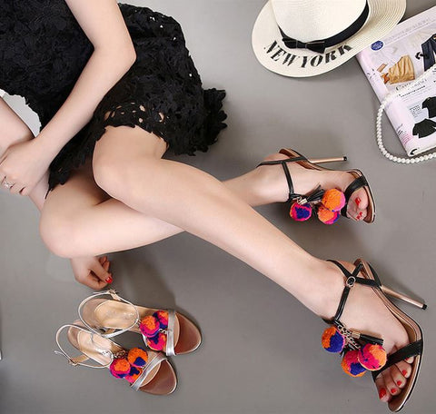 Brand Celebrity New Fashion Girls Cute Pom Pom Silver Heels Sandals Stiletto Summer Shoes Thin High Heel Women Sandals