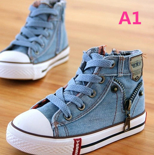 New Arrived Children Shoes Canvas Sneakers Unisex Jeans Flats Boots Denim Side Zipper Shoes