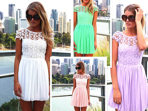 Cute Lace short summer women new party dress o neck hollow out short sleeve