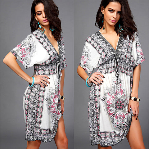 2017 New Summer Cool V neck short dress adjustable beach casual dress