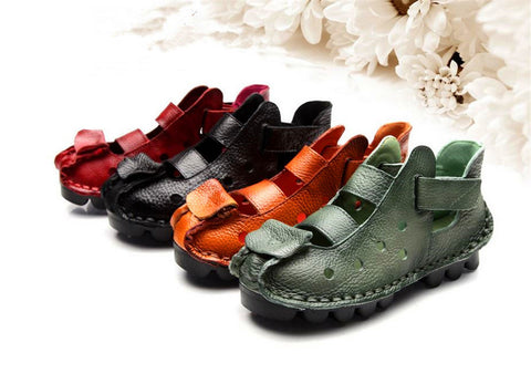 Summer Leather Women  Sandals Anti-Slippy Strap Velcro Shoes
