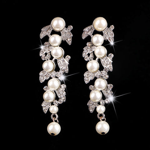 2017 Elegance sparkly  CZ crystals pearl earrings women party wedding jewelry 9 models