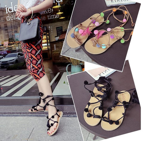 Summer New Colorful Poms Sandals Gladiator Thong Flip Flop Shoes Woman