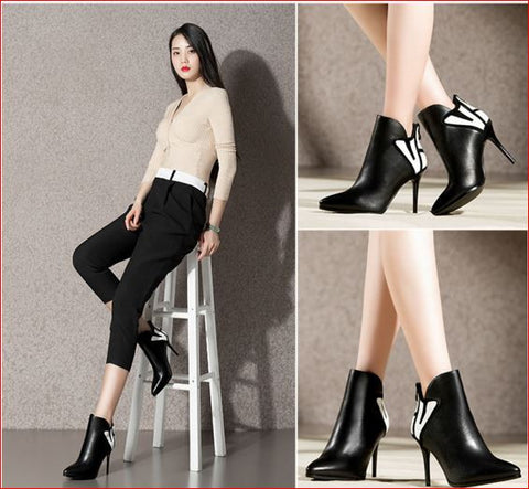 New Fall Short Boots fashion Stiletto pumps Pointed High Heeled Ankle Boots Size 35-40 Woman Booties